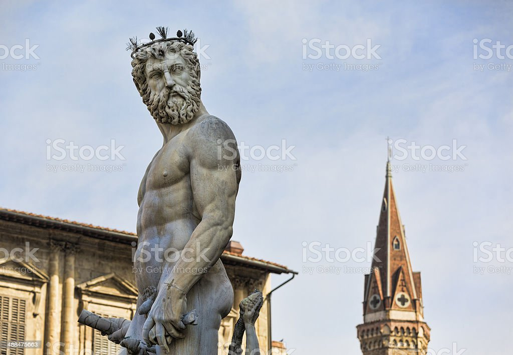 Neptune overlooking the Piazza della Signoria, Florence royalty-free stock photo