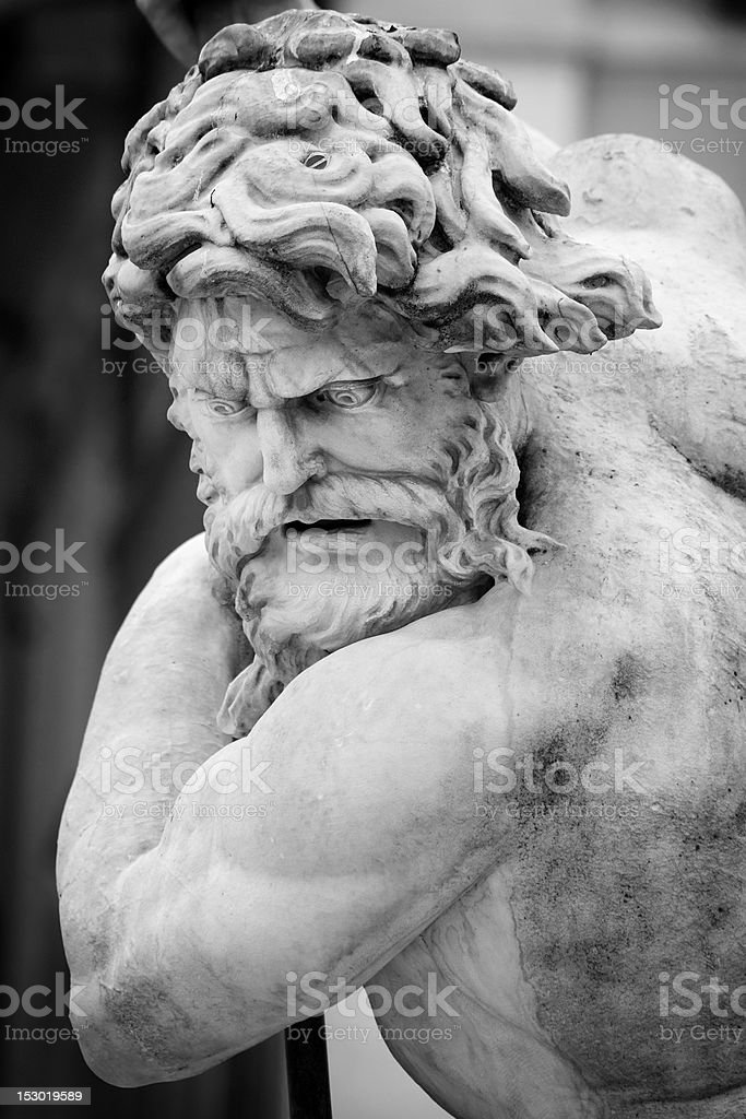 Neptune Statue Face in Monochrome stock photo