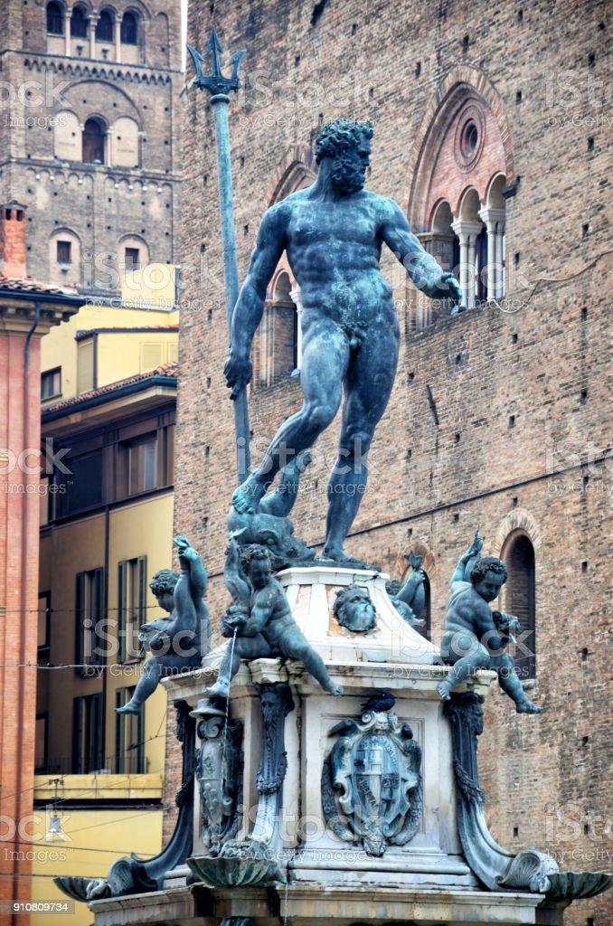 Neptune statue in Bologna stock photo
