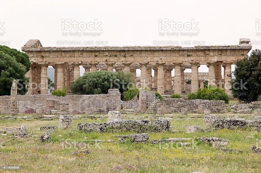 Neptune Temple, Paestum, Italy stock photo