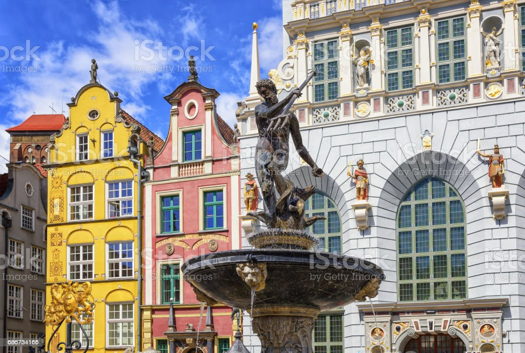Neptune's Fountain and gothic houses in Gdansk, Poland stock photo