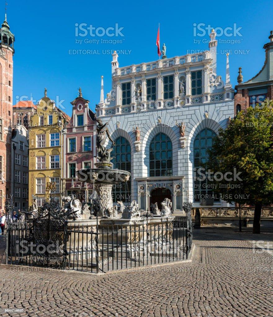 Neptunes Fountain in Market Square, Gdansk stock photo