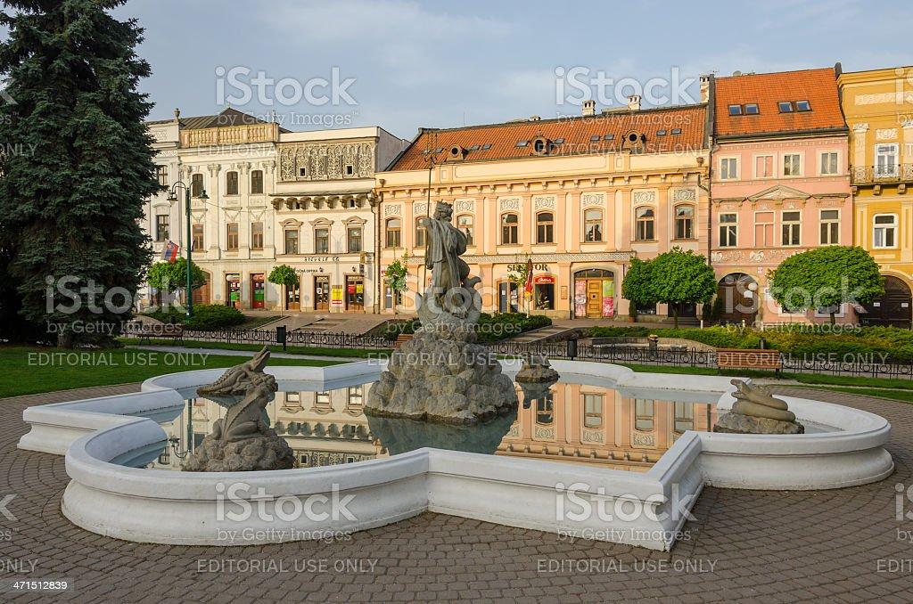 Neptune´s fountain, Presov, Slovakia stock photo