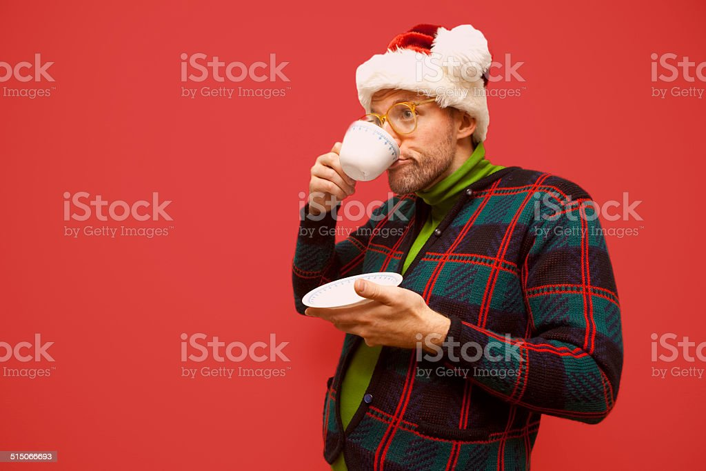nerd at Christmas stock photo