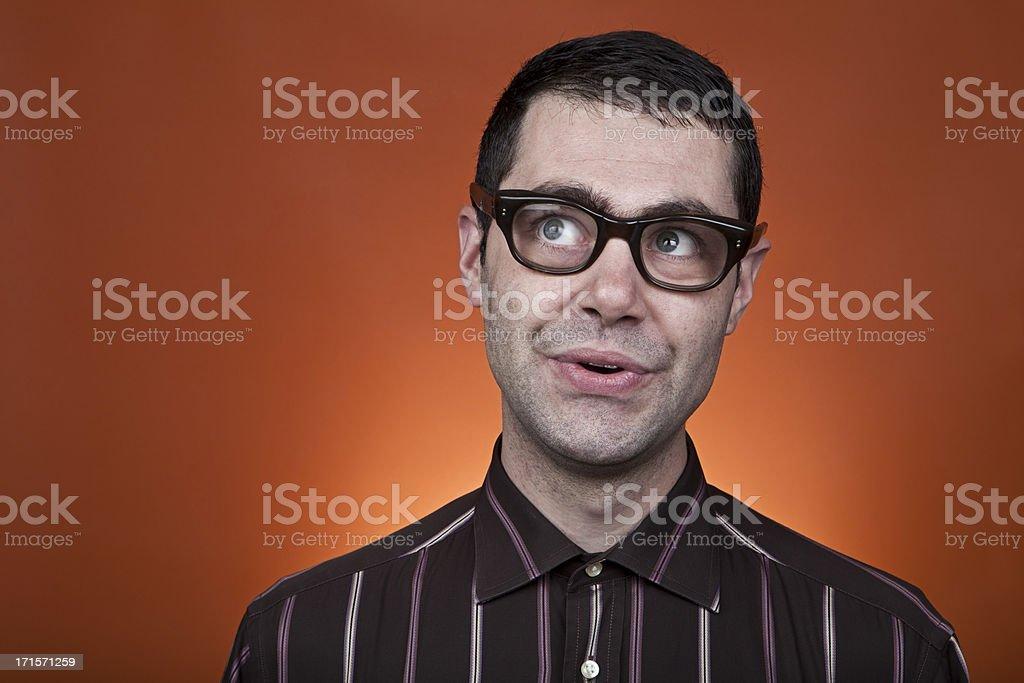 nerd boy looking up royalty-free stock photo
