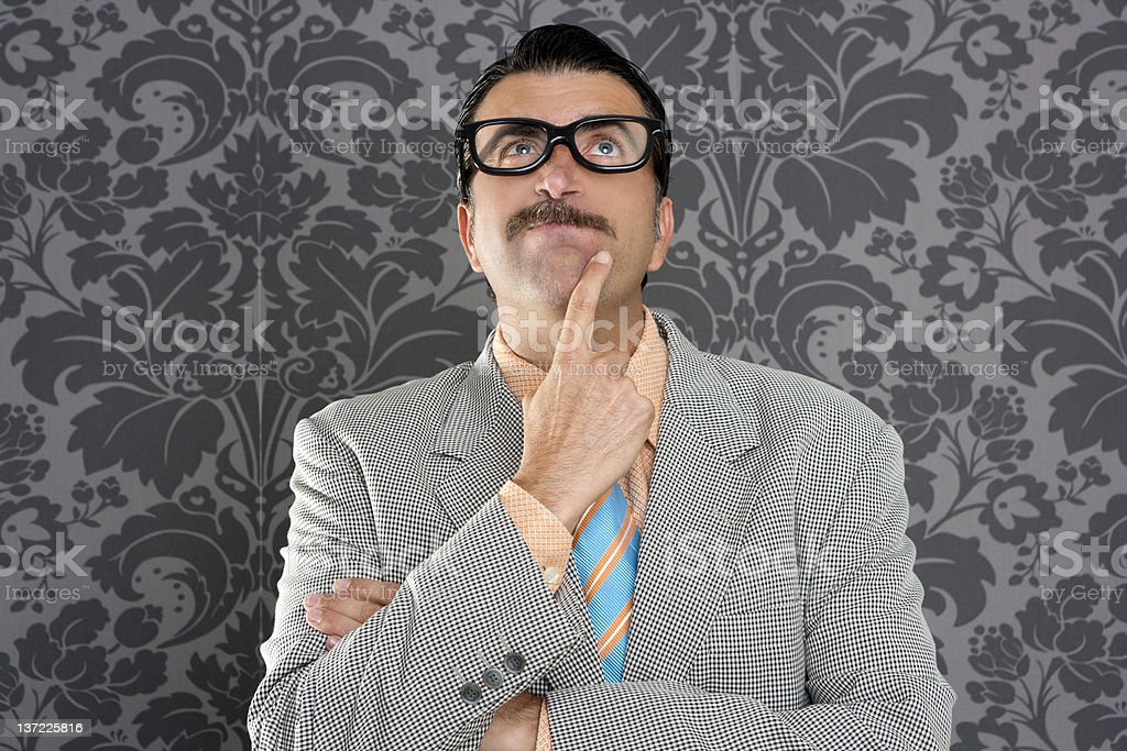 nerd businessman pensive gesture silly funny retro royalty-free stock photo