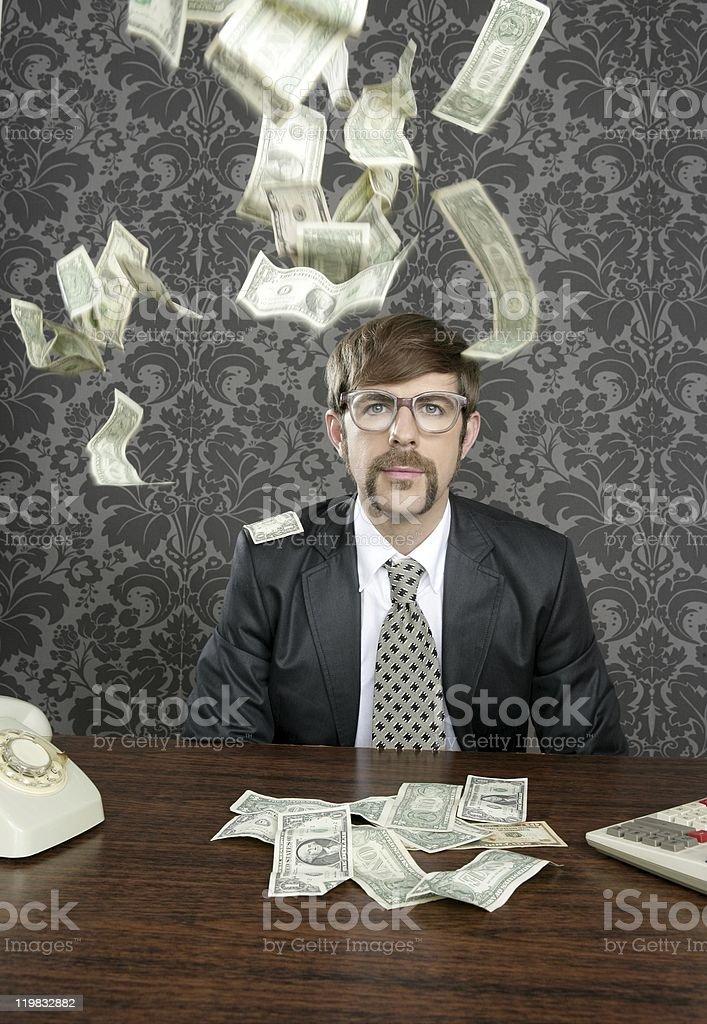 nerd businessman retro office flying dollar note royalty-free stock photo