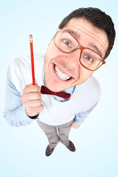 nerd businessman with big head holding pen - 諷刺畫 個照片及圖片檔