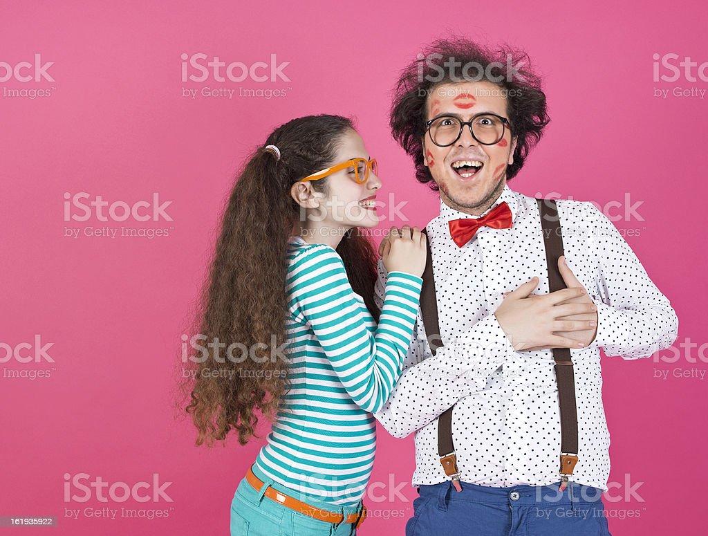 Nerd couple in love stock photo