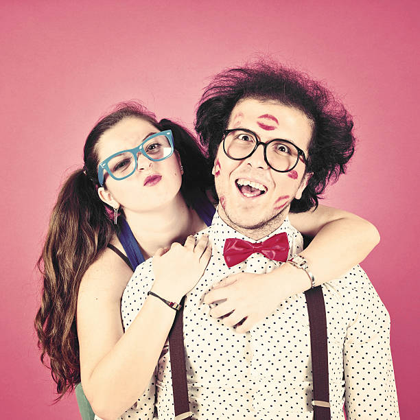 nerd couple portrait - ugly girl stock photos and pictures
