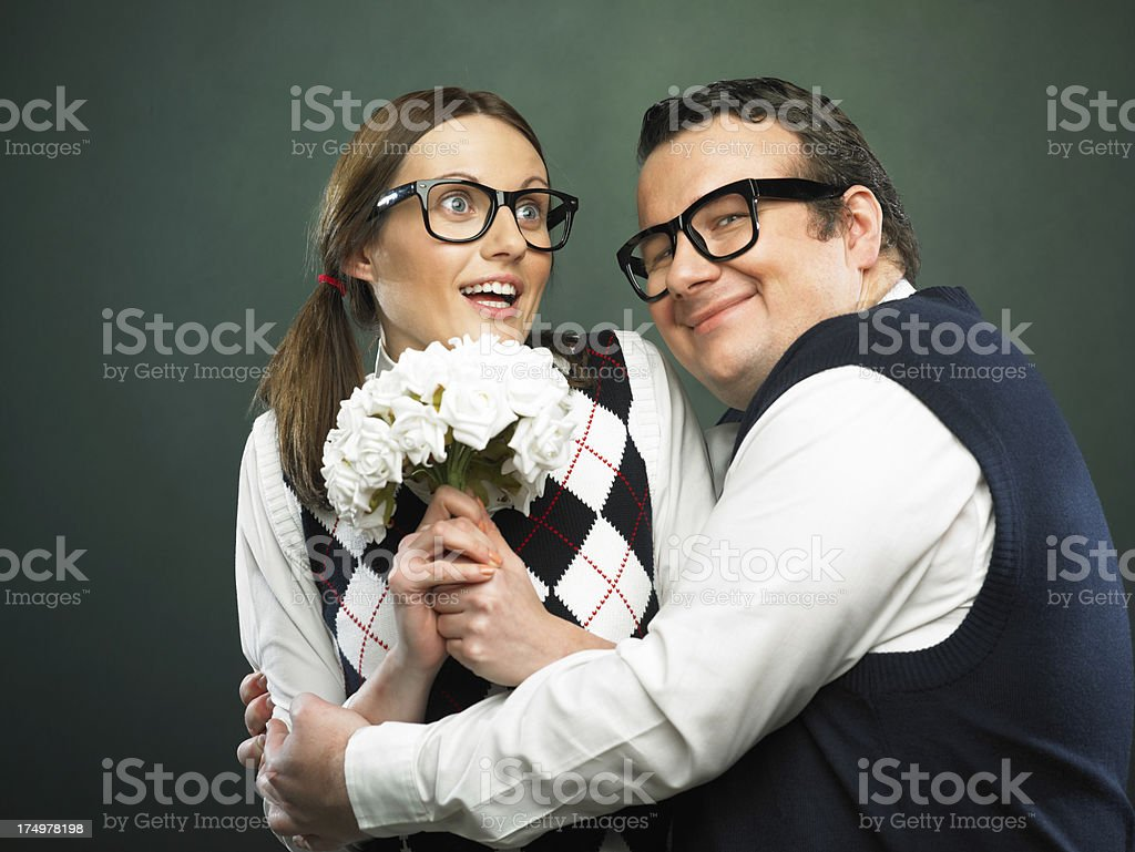 Nerd embracing royalty-free stock photo