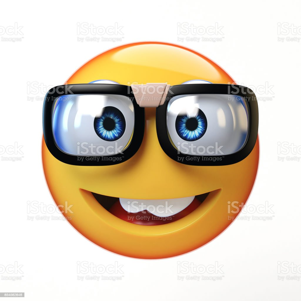 Nerd emoji isolated on white background, emoticon with glasses 3d rendering stock photo