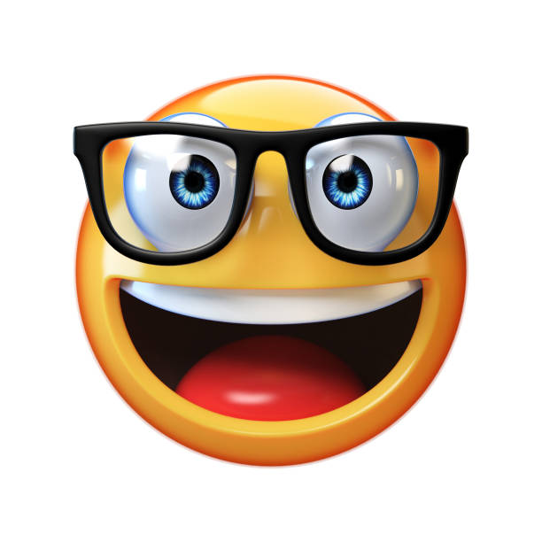nerd emoji isolated on white background, emoticon with glasses 3d rendering - emoticons stock photos and pictures