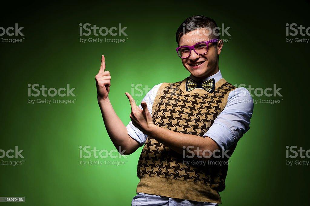 nerd gesturing stock photo