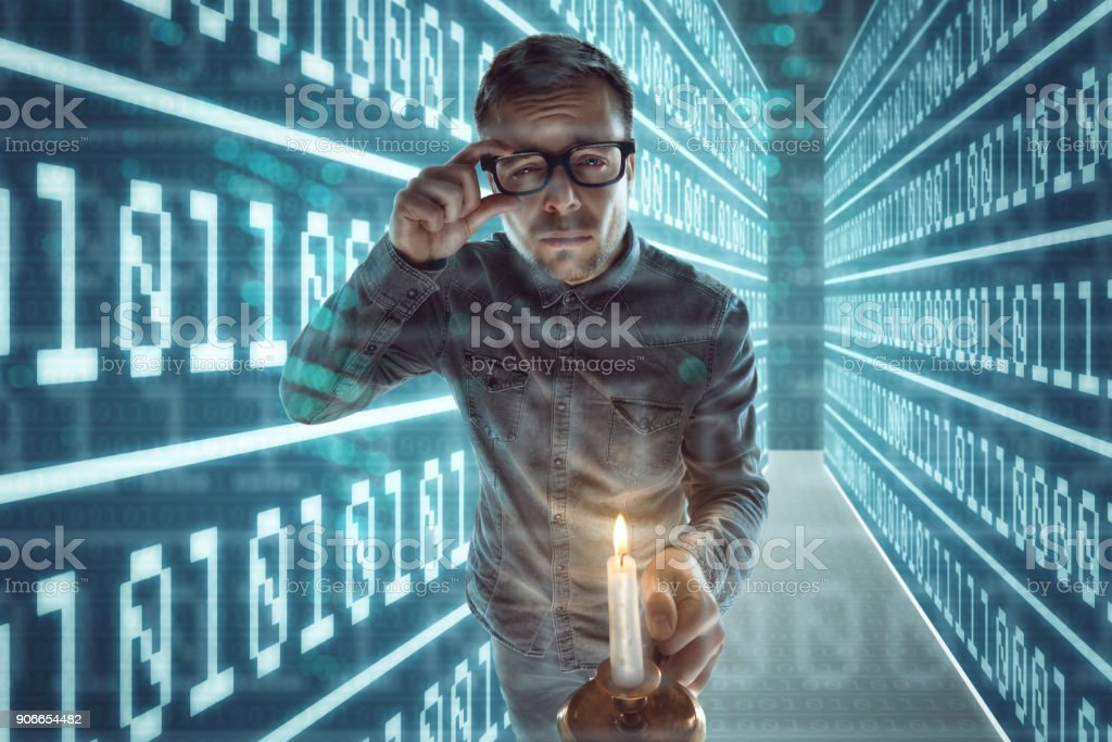 Nerd gets lost in cyberspace stock photo