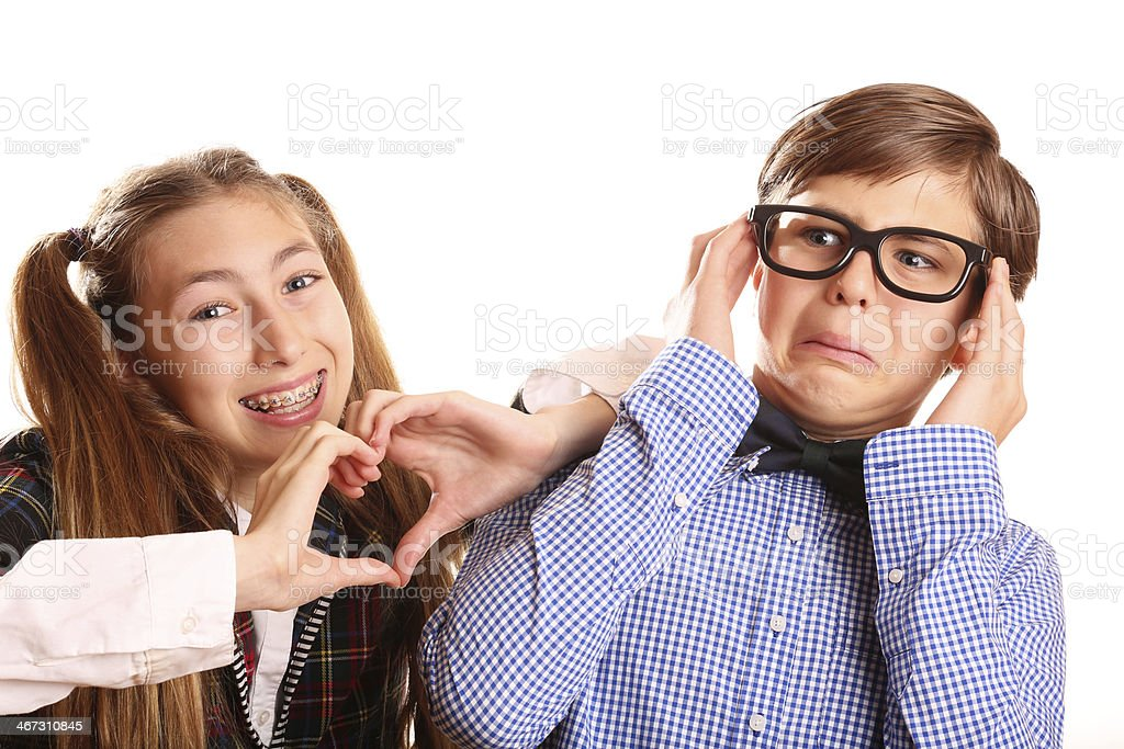 Nerd Kids Valentine's Day Love stok fotoğrafı