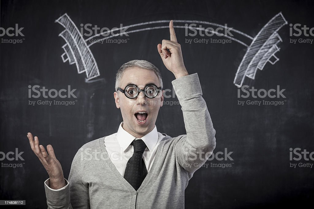 Nerd lifting weights royalty-free stock photo