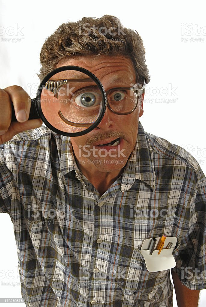 Nerd Magnify Glass royalty-free stock photo