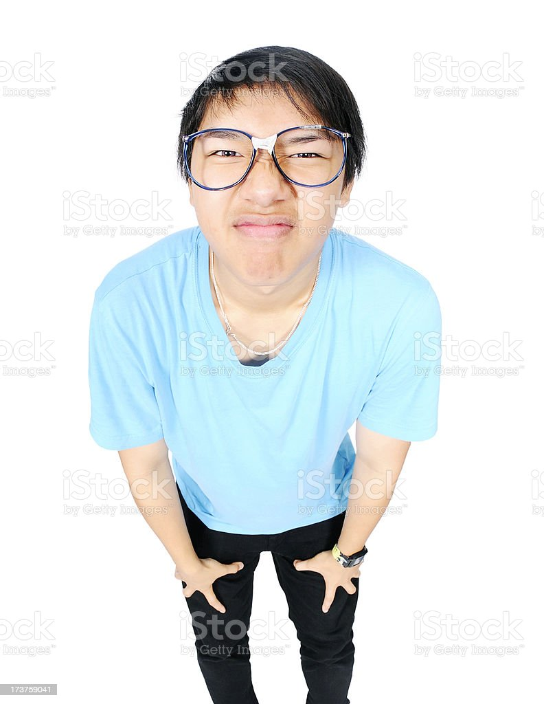 Nerd Making a Face stock photo
