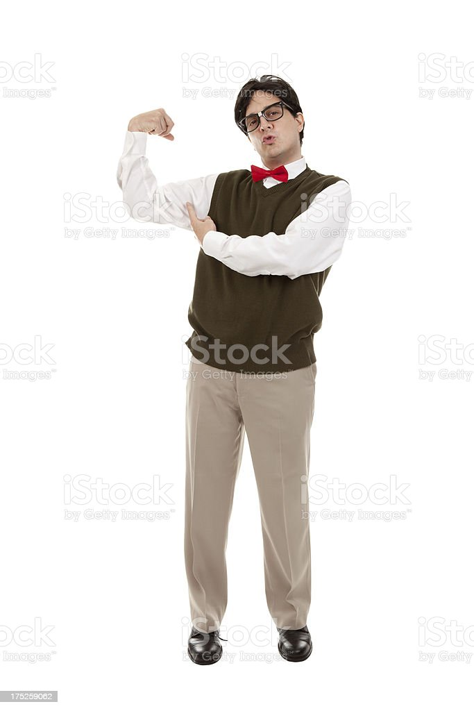 Nerd Making A Muscle royalty-free stock photo
