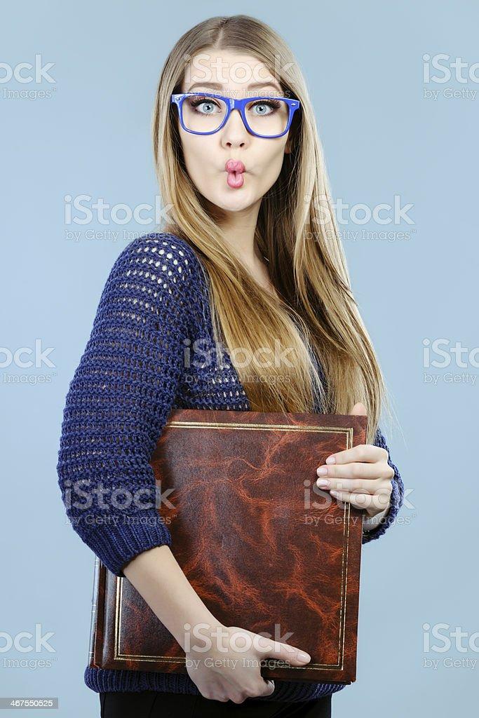 nerd making fish lips stock photo