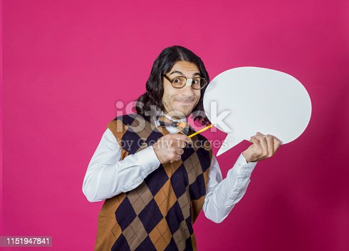 Nerd male holding speech bubble