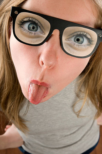 nerd - ugly girl stock photos and pictures