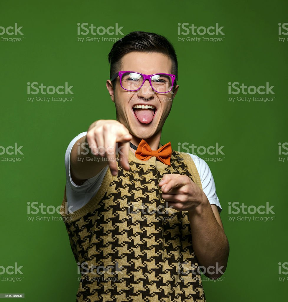 nerd pointing stock photo