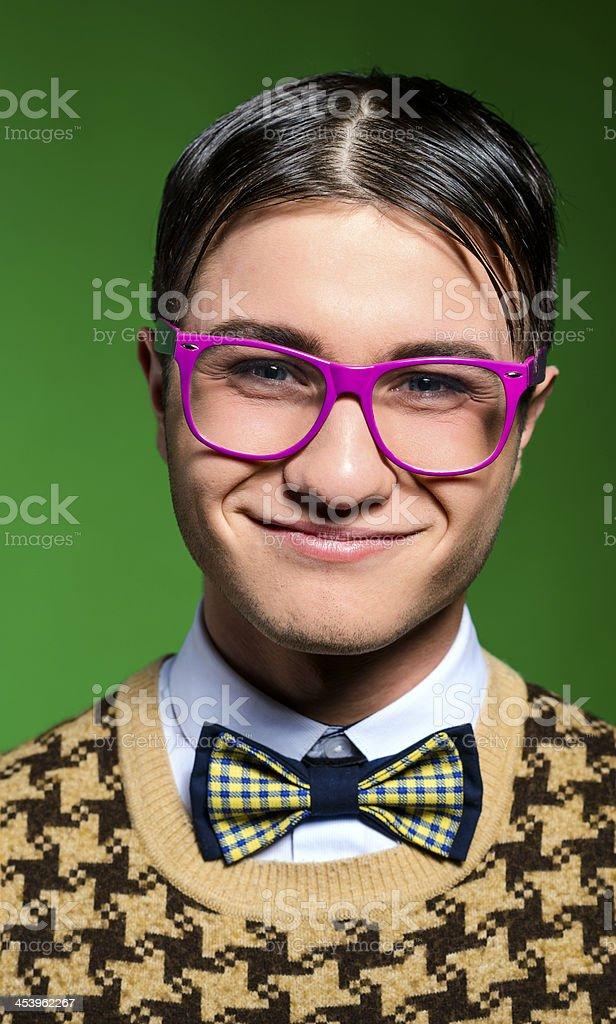 nerd portrait smiling stock photo