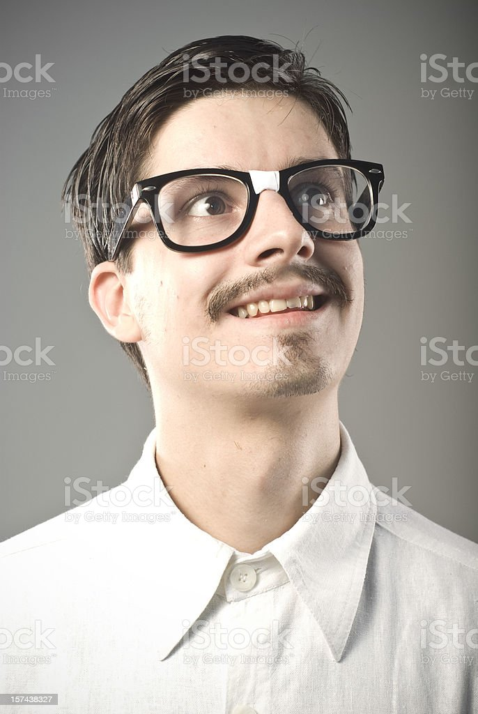 Nerd posing for a yearbook photo royalty-free stock photo