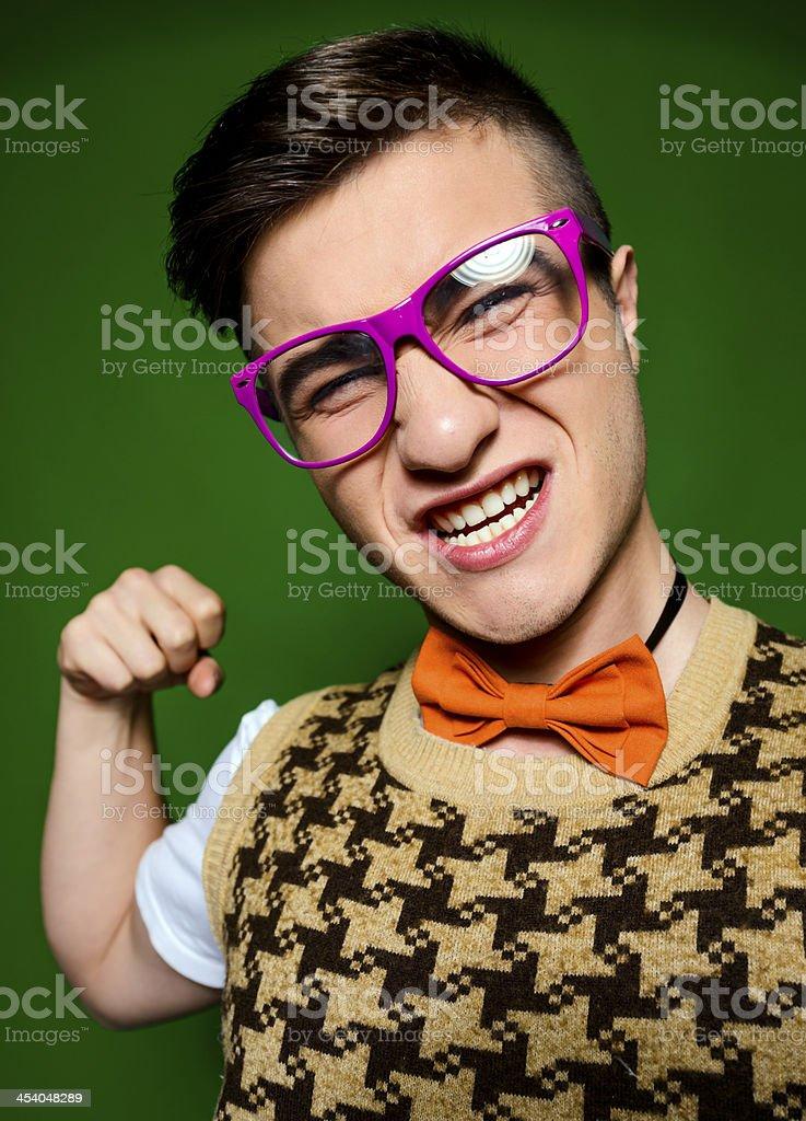 nerd punching stock photo