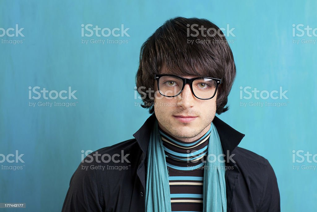 Nerd retro british indie look with handkerchief stock photo