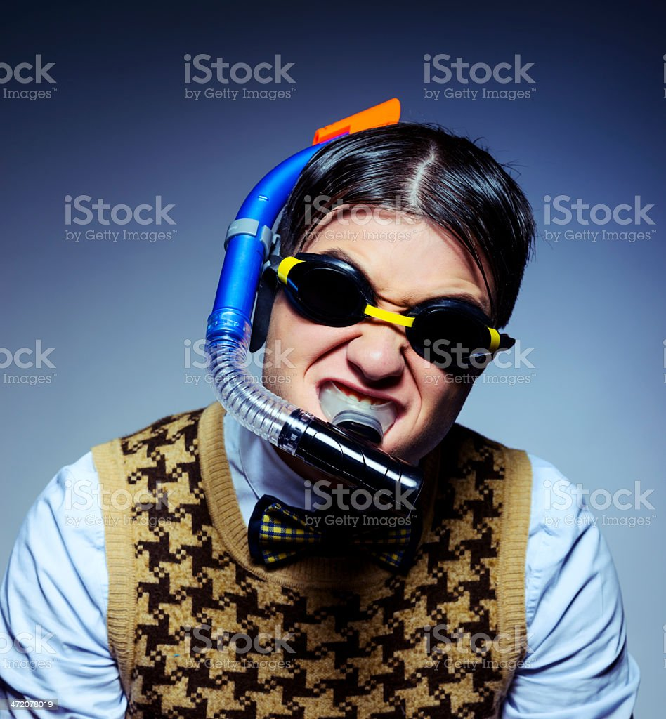 nerd scuba diving royalty-free stock photo
