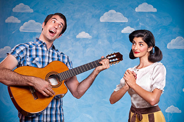 Nerd Serenading His Date  serenading stock pictures, royalty-free photos & images