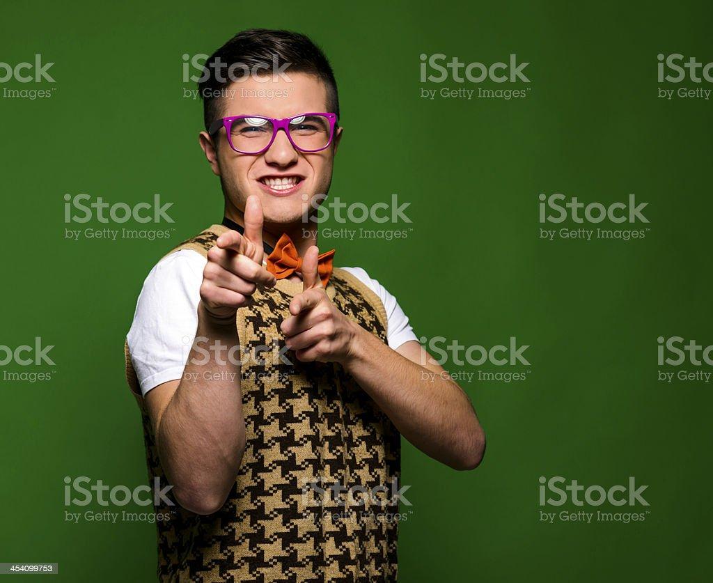 nerd shooting stock photo