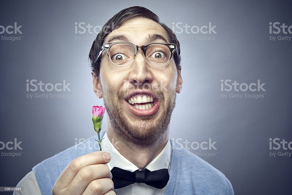 Nerd Student Giving Flower stock photo
