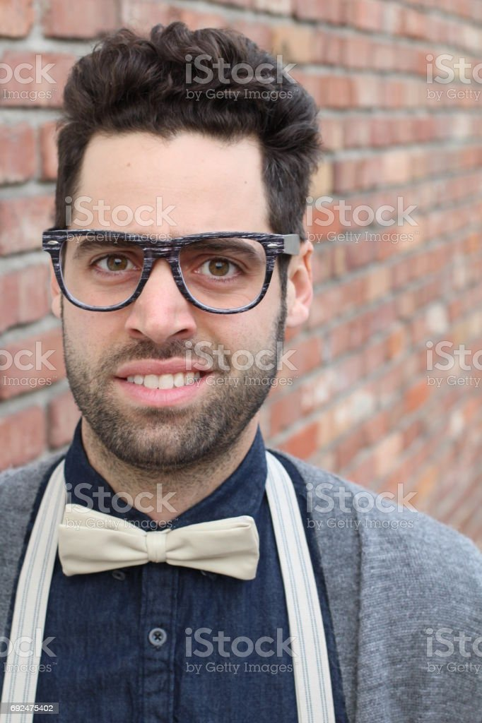 Nerd Student Making A Funny Awkward Face stock photo