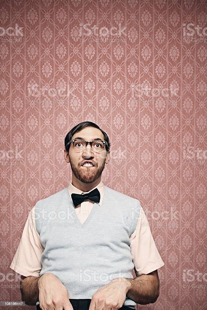 Nerd Student Making a Funny Face with Copy Space stock photo