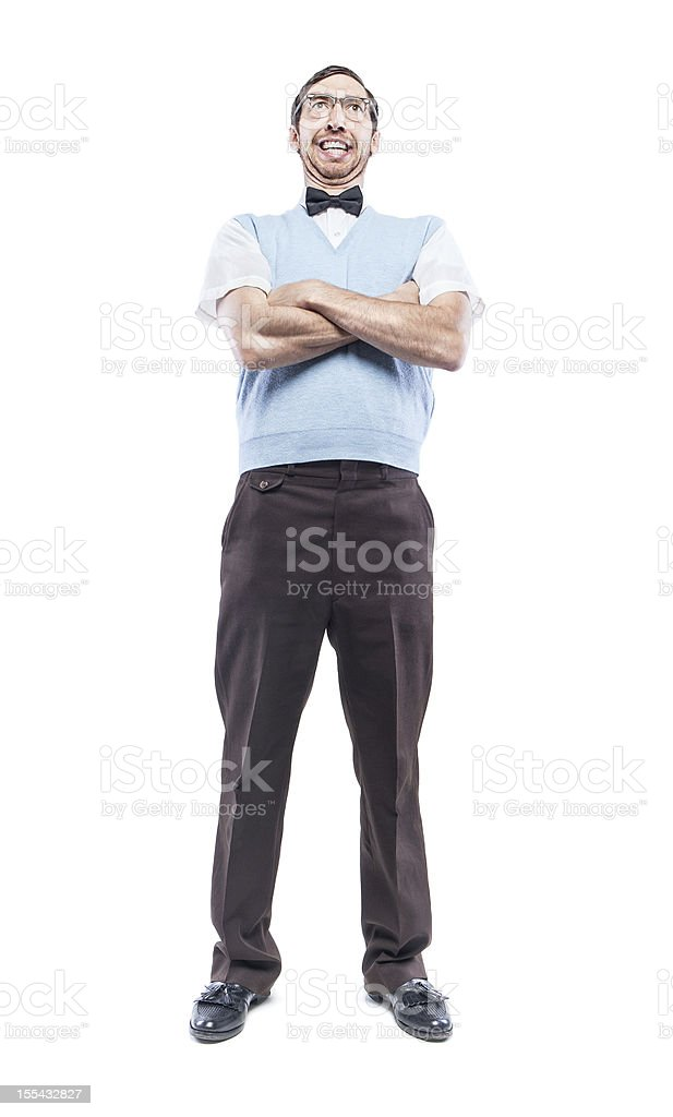 Nerd Student Standing Proudly stock photo