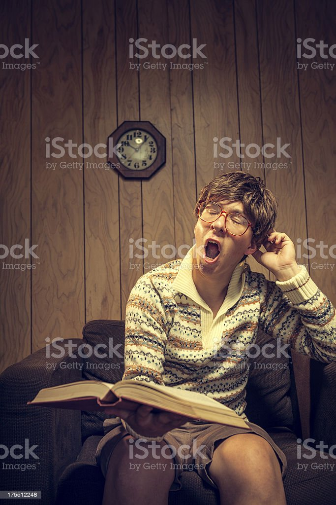 Nerd Student Studying in Vintage Room royalty-free stock photo