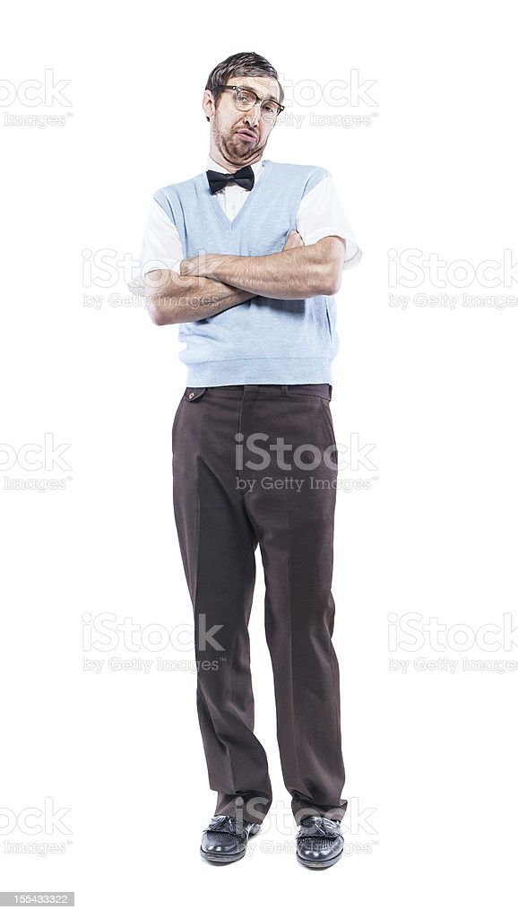 Nerd Student with Smug Look Isolated on White stock photo