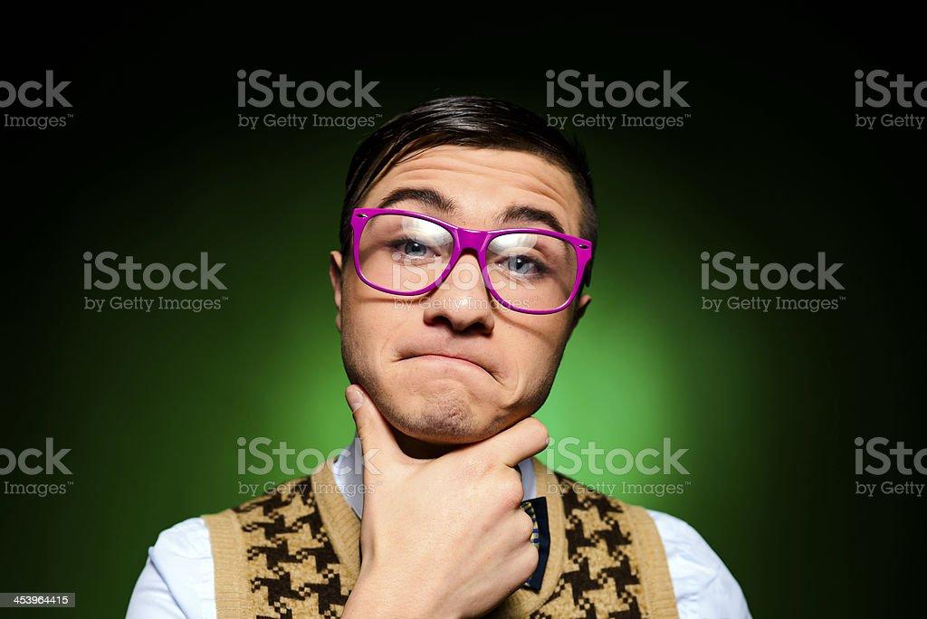 nerd thinking stock photo