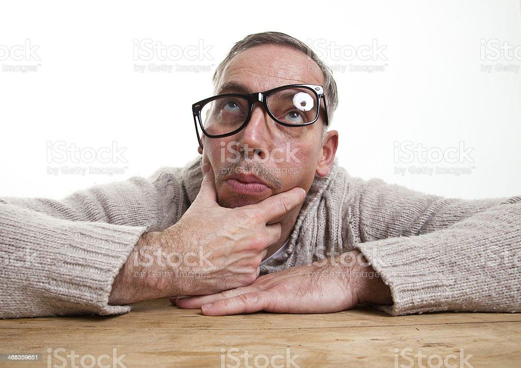 nerd thinking royalty-free stock photo