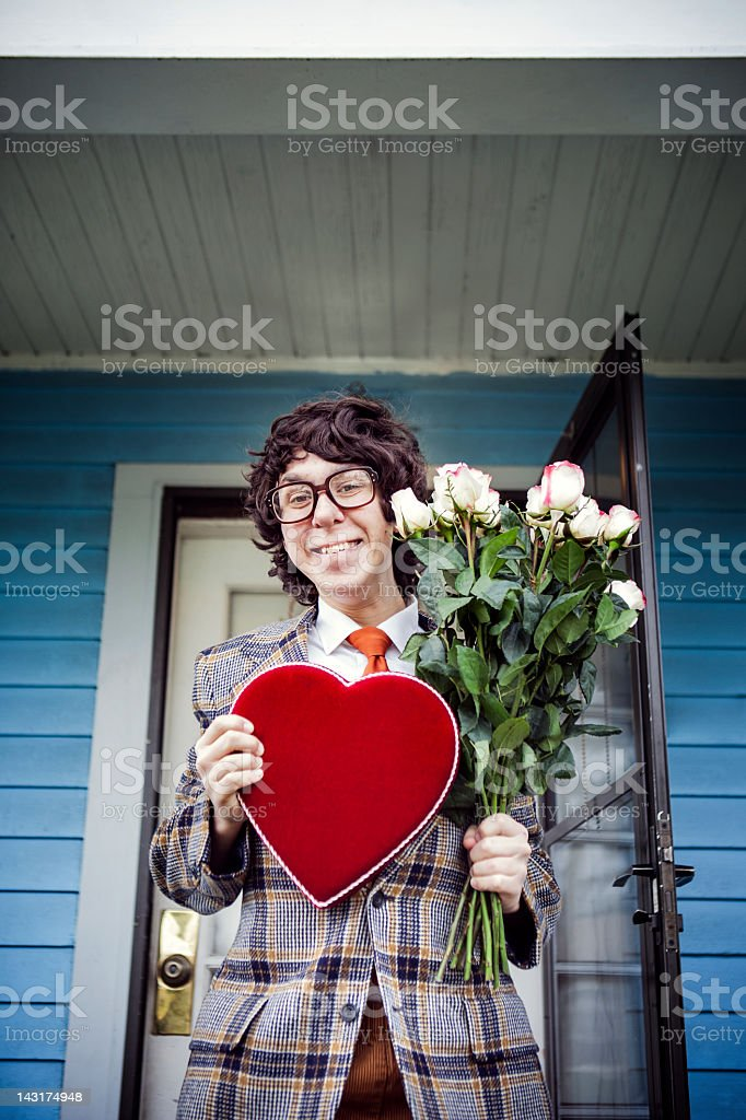Nerd Valentine Gift and Flowers stock photo
