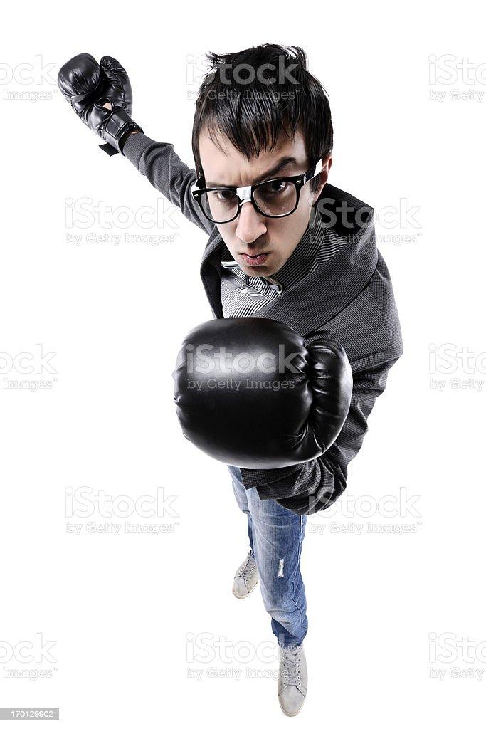 nerd wearing box gloves royalty-free stock photo