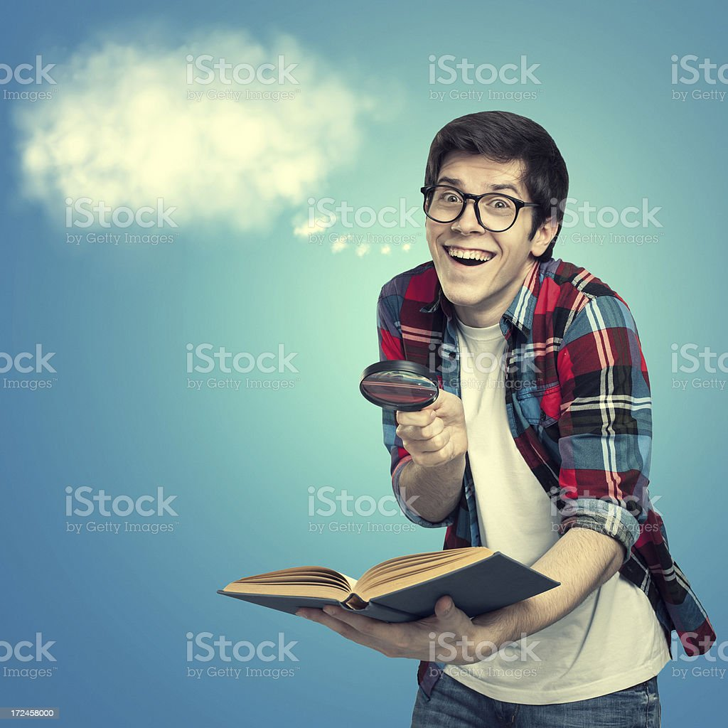 Nerd with an idea royalty-free stock photo