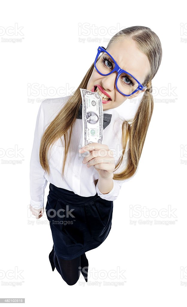 nerd with dollar banknote royalty-free stock photo