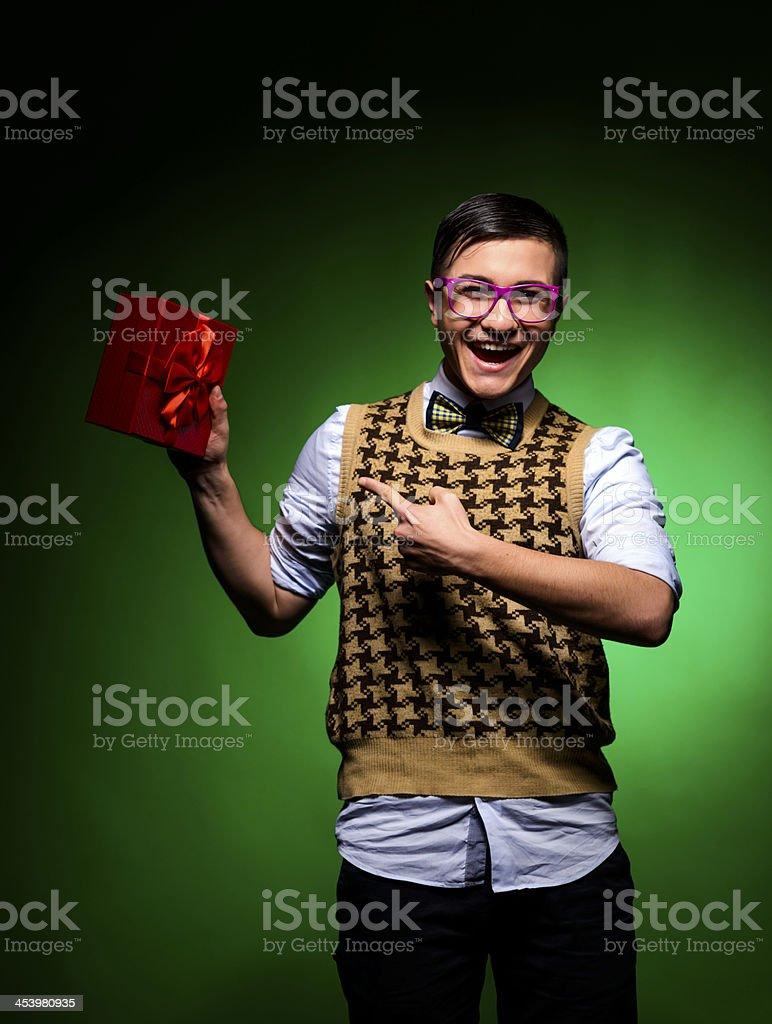 nerd with gift stock photo