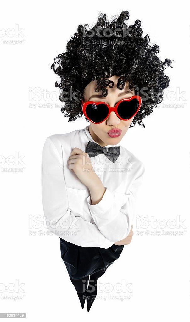 nerd with heartshape sunglasses stock photo