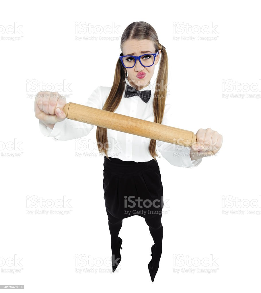 nerd with rolling pinn royalty-free stock photo